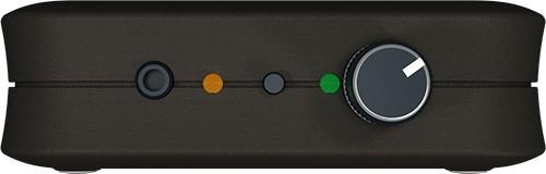 """Передняя боковая панель устройства для подавления любых микрофонов """"BugHunter DAudio bda-2 Voices"""": регулятор громкости акустического сигнала,  аудиовыход, кнопка активации  ТУРБО-режима"""